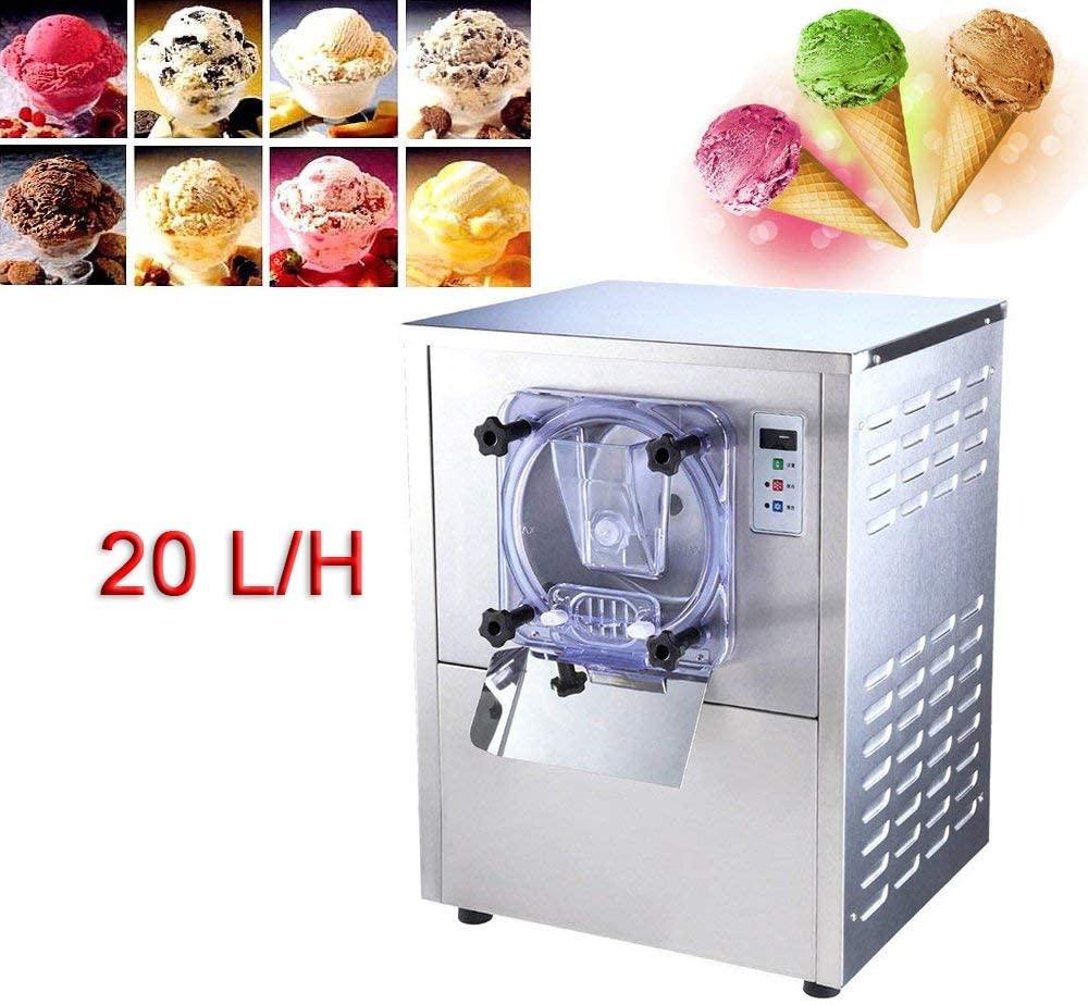 Hard Ice Cream Machine, DENSHINE Commercial Desktop Ice Cream Making Machine Stainless Steel Ice Cream Maker for Commercial Use, 5.3 Gal/H - Shipping from USA