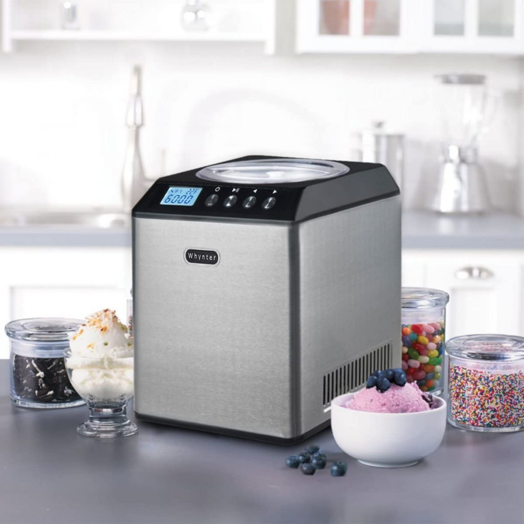 Whynter ICM-201SB Upright Automatic Ice Cream Maker 2 Quart Capacity Built-in Compressor, no pre-Freezing, LCD Digital Display, Timer, Stainless Steel Mixing Bowl, 2.1